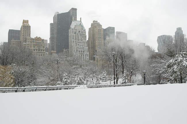 Central park in snow with builidngs on background, Nova Iorque, EUA — Fotografia de Stock