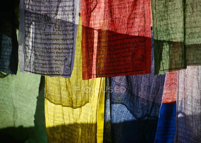 Різнокольорові молитовні прапори з Ортогональна тексту — стокове фото