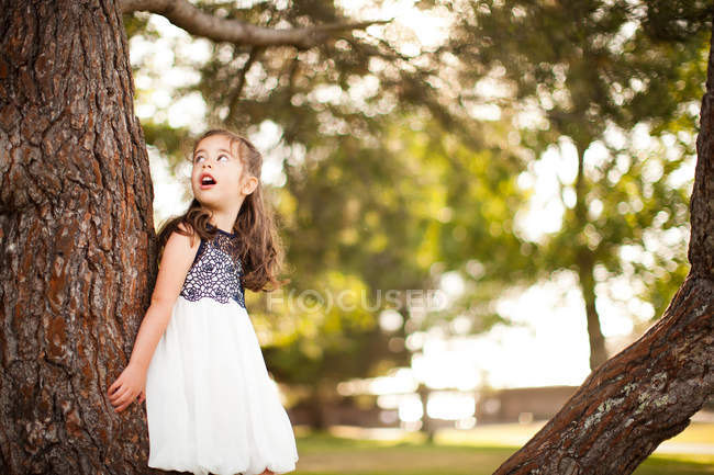 Portrait of girl leaning on tree trunk looking up — Stock Photo