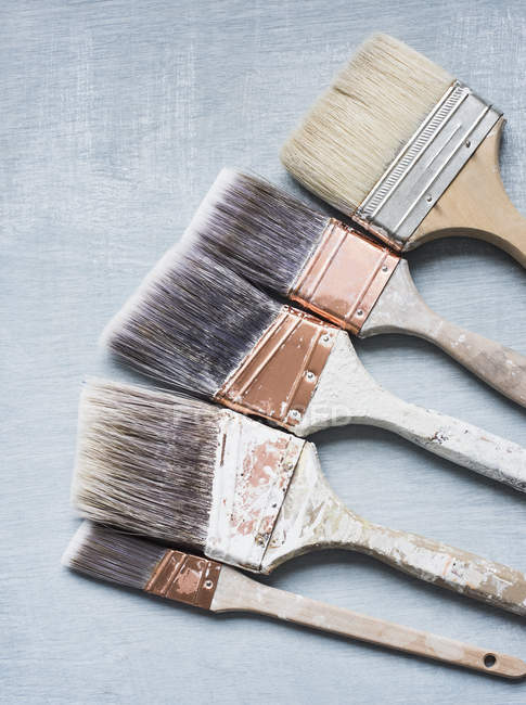 High angle view of various sized paintbrushes — Stock Photo