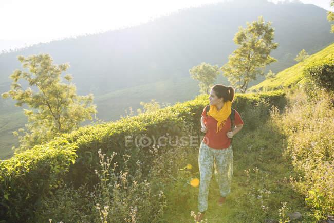 Mujer joven caminando entre plantaciones de té cerca de Munnar, Kerala, India - foto de stock