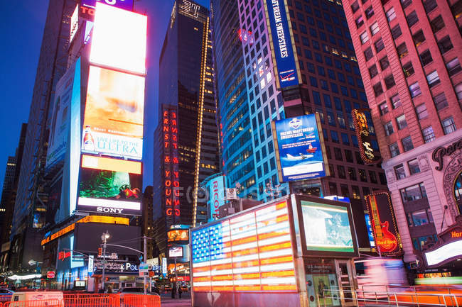 Illuminated billboards Times Square at night — Stock Photo