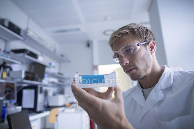 Young male scientist preparing experiment in lab — Stock Photo