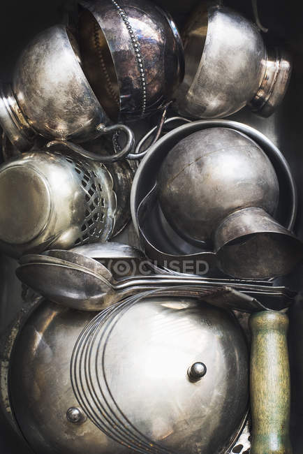 Vintage pewter containers and jars on each other — Stock Photo