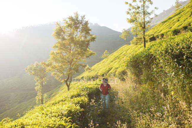 Jeune femme marchant dans des plantations de thé près de Munnar, Kerala, Inde — Photo de stock