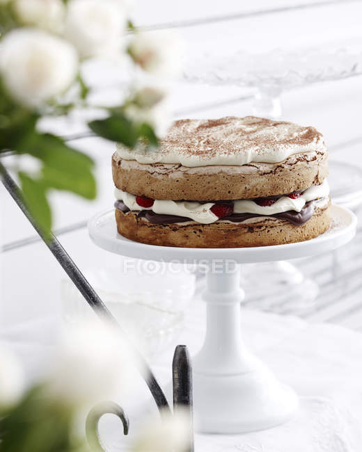 Strawberry hazelnut gateau on cakestand — Stock Photo