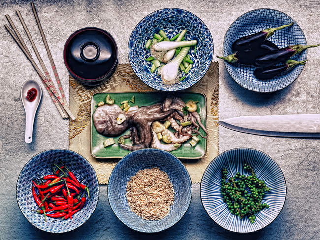 Ingredientes para la harina de sepia coreana - foto de stock