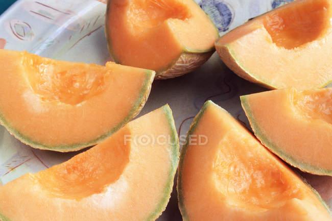 Fatias de melão cantalupo suculento prato — Fotografia de Stock