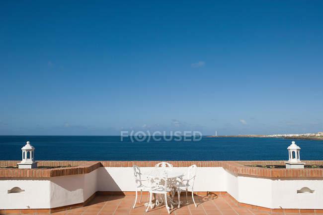Terrace and view over ocean, Playa Blanca, Lanzarote — Stock Photo