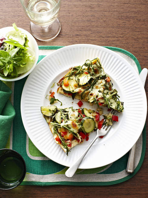 Baked Vegetable Frittata with fork on plate — Stock Photo