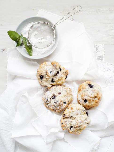 Ainda vida de scones de mirtilo, servido com açúcar em pó — Fotografia de Stock