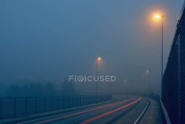 Diminishing perspective of light trails on misty road illuminated by street lights — Stock Photo