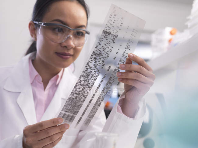 Scientist viewing a DNA profile experiment in a laboratory — Stock Photo