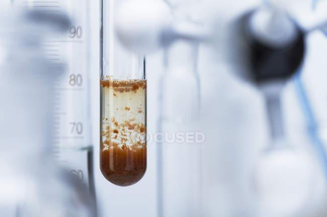 Closeup Aufnahme von Kohlendioxid chemische Reaktion im Glaskolben — Stockfoto