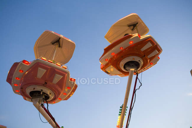 Fairground ride in action at amusement park rides — Stock Photo