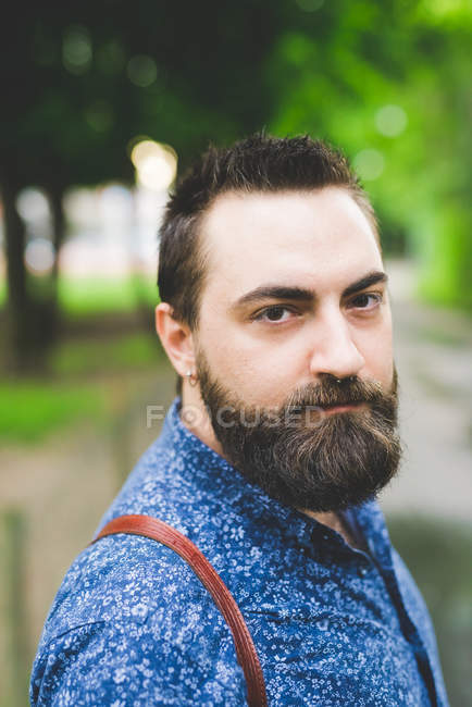 Portrait of handsome bearded young man — Stock Photo