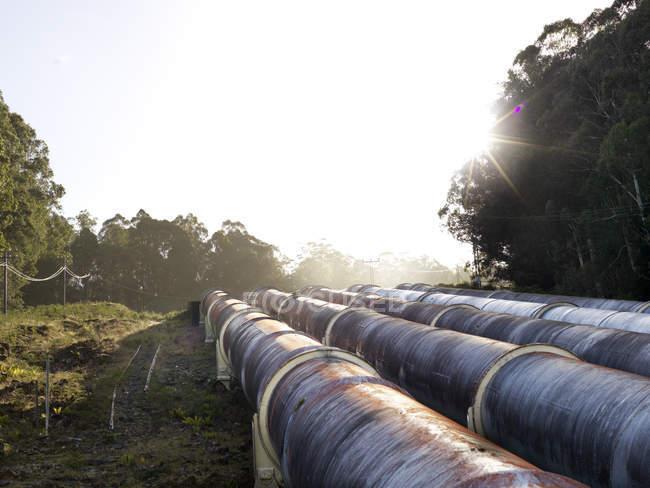 Landschaft mit vier hydroelektrischen Industrierohren, Tasmanien — Stockfoto