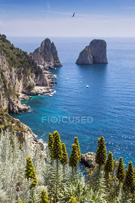 Cliffs and rocks in sea, Capri, Amalfi Coast, Italy — Stock Photo