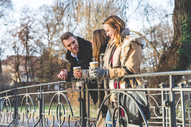 Young man and female friends standing chatting on park bridge — Stock Photo