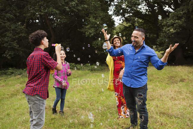 Família que engana ao ar livre, bolhas de sopro do adolescente na família — Fotografia de Stock
