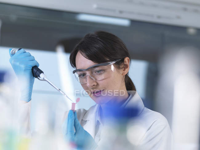 Forscher pipettiert DNA- Probe im Labor in Eppendorfer Fläschchen — Stockfoto