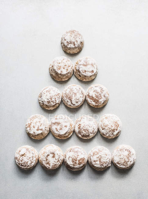 Top view of homemade cookies in triangle shape — Stock Photo