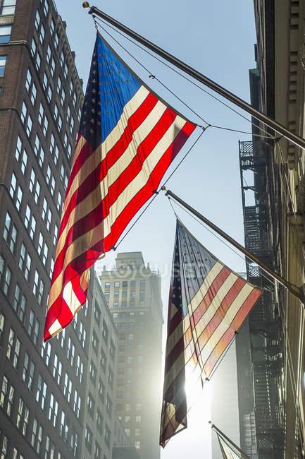 Американські прапори на прапор стовпи на вулиці, Нью-Йорк, США — стокове фото