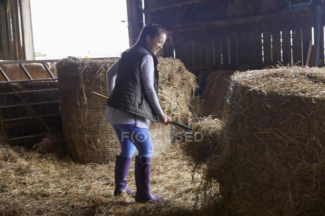 Donna in fienile spalatura fieno — Foto stock