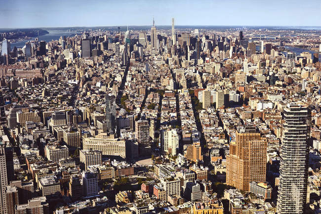 High angle cityscape from One World Trade Observatory, New York City, USA — Stock Photo