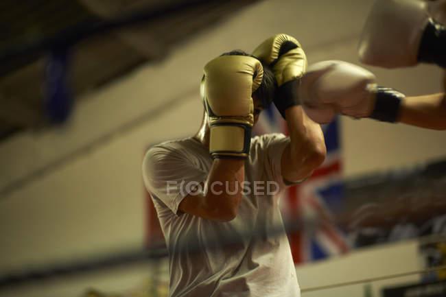 Zwei Boxer Sparring im Boxring — Stockfoto