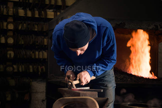 Farrier forching horseshoe on anvil — стоковое фото