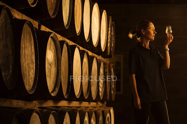 Female taster looking at the colour of whisky in glass at whisky distillery — Stock Photo
