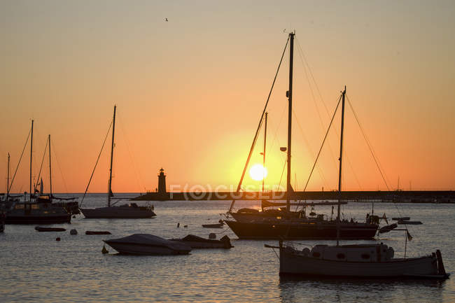 Anchored yachts in port at sunset, Andratx, Majorca, Spain — Stock Photo