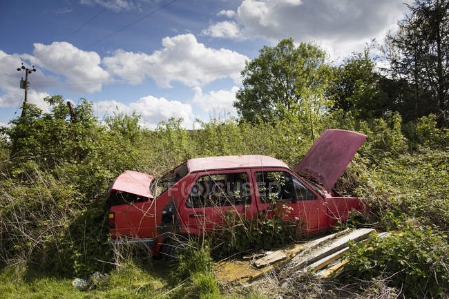 Abbandonato auto rossa aperta sulla terra desolata durante il giorno — Foto stock