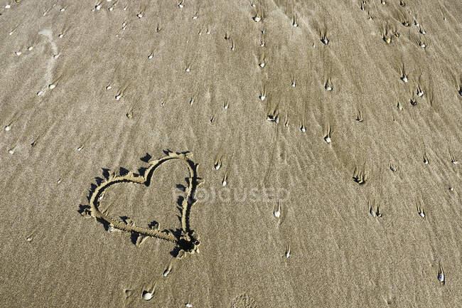 Heart drawn on beach, Venice, Italy — Stock Photo