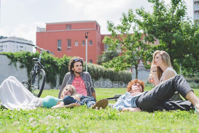 Щасливі пари, які розслабляє в парку разом — стокове фото