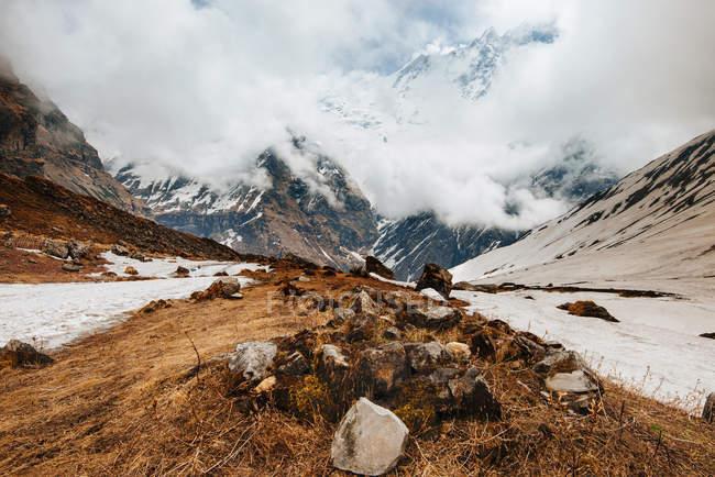 Vista panoramica di trek Abc, Annapurna Base Camp trek, Nepal — Foto stock