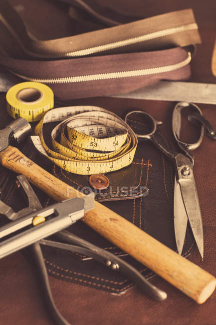 Still life of dressmaking equipment in leather jacket manufacturers, close-up — Stock Photo