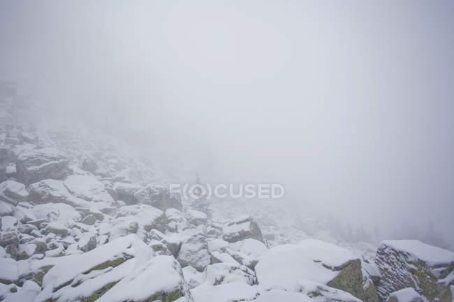 Заснеженные скалы в тумане, деревня Sarsy, Свердловская область, Россия — стоковое фото