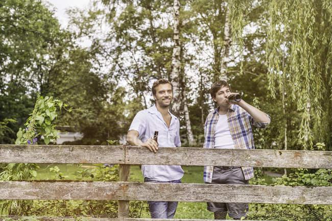 Два взрослых друга-мужчины пьют пиво у забора в саду — стоковое фото