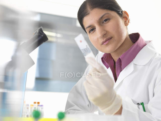 Female scientist in lab testing blood sample using microscope — стокове фото