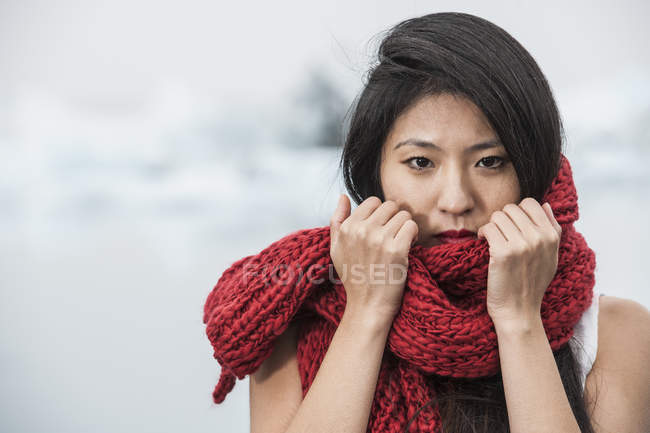 Fashion shoot at the Ice Lagoon, South East Iceland — Stock Photo