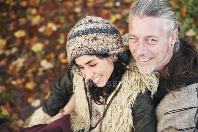 High angle portrait of mature hippy couple — Stock Photo