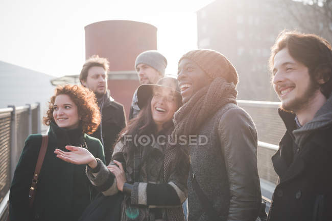 Six young adult friends chatting and laughing on footbridge — Stock Photo