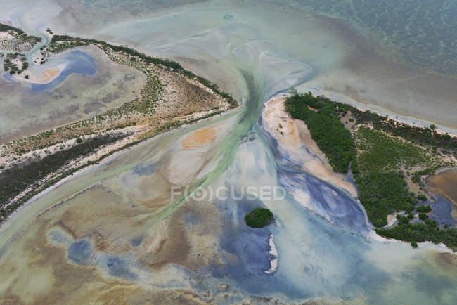 Vista aerea della costa del mare con vegetazione lussureggiante — Foto stock