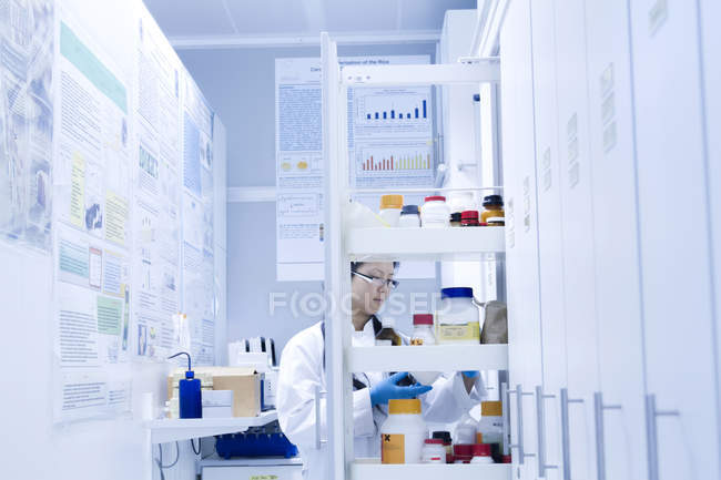 Female scientist selecting specimen jar from shelves in laboratory — Stock Photo