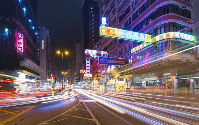 Traffic light trails at night, Hong Kong, China — Stock Photo