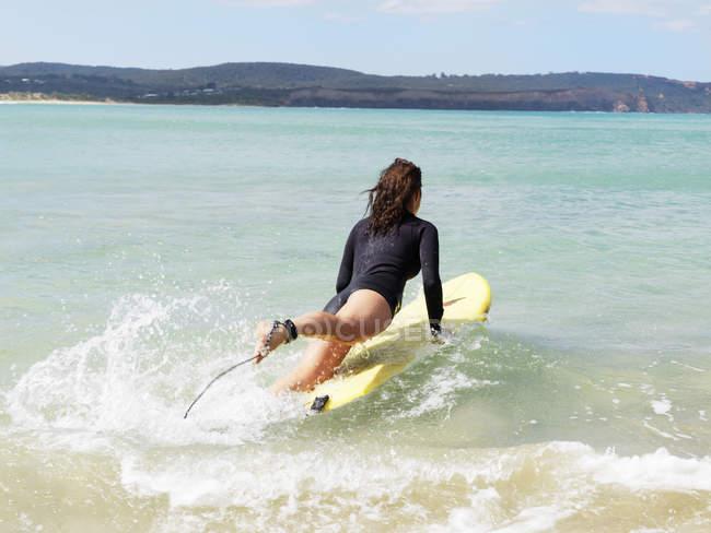 Surfer in sea, Roadknight, Victoria, Australia — Stock Photo