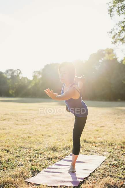 Femme d'âge mûr dans le parc, en équilibre sur une jambe, en position d'yoga — Photo de stock