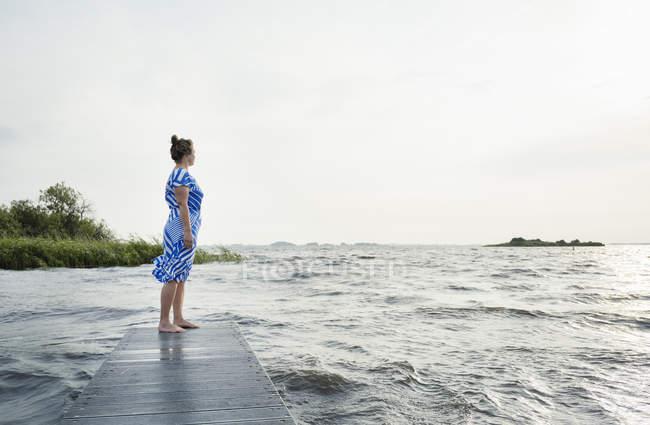 Женщина позирует в районе озера фризских винтажное платье, снек, Фрисландии, Нидерланды — стоковое фото